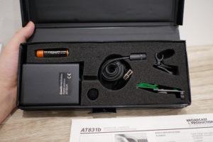 オーディオテクニカのピンマイク、AT831bの内箱を開けた状態